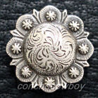 WESTERN SADDLE HORSE TACK ANTIQUE ENGRAVED BERRY CONCHOS screw back Multi size