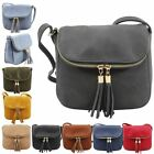 New Faux Leather Zipped Flap Tassel Detail Women's Crossbody Bag
