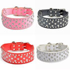 Adjustable Sparkly Crystal Bling Diamond PU Leather Collar For Dog