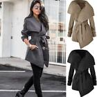Women Winter Lapel Long Sleeve Jacket Long Trench Coat Outerwear With DZ88