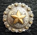 WESTERN SADDLE HORSE TACK ANTIQUE ENGRAVED GOLD STAR BERRY CONCHOS screw back