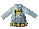 Kids Boy's DC Batman Gray Rain Coat Jacket with Cape Waterpr
