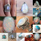 925 Silver Woman Fire Opal Moonstone CZ Wedding Engagement Men Ring Size 6-10