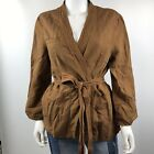 NWT Anthrpologie Hei Hei Linen Women's Jacket Honey Open Front Tie Blet Wrap L