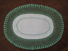"""Vintage Table Scsrf Linen fabric center Mint Green Crocheted Lace Edge OVAL 18"""""""