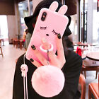 For iPhone X 6S 7 8 Plus Cute Rabbit Ring Rubber Case Cover & Plush Ball & Strap