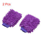 2Pcs Purple Double Side Chenille Wash Mitten Cleaning Glove for Car Vehilce Home