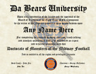 Chicago Bears #1 Fan Custom Diploma Certificate for Man Cave NFL Novelty $19.99 USD on eBay