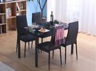 Modern Glass Dining Table and 4/6 Faux Leather Chairs Black/White Home Furniture <br/> Table Length:105/120/140cm | 7 Styles for Choice!