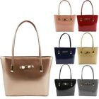 New Patent Leather Bow Embellishment Women's Large Shopper Tote Bag