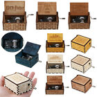Retro Vintage Wooden Hand Crank Hurdy-Gurdy Engraved DIY Music Box Melody 5 Song