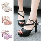 Womens Platforms Open Toe Rhinestones Ankle Strap High Heels Pumps Party Sandals
