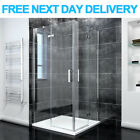 Frameless Corner Entry Shower Enclosure Cubicle Pivot Door and Stone Tray+Waste