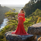 Women's Mercerized Cotton Pregnant Lotus Leaf Sleeve Tail Dress Photography Y792