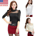 Women Lady Lace Hollow Tops Long Sleeve T-Shirt Casual Blouse Thick Winter Tops