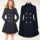 Womens Slim Double Breasted Trench Coat Jacket Long Lapel Outwear Peacoat Parka