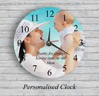 Personalised wall glass clock photo/text/numbers Mother