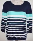 New Women's BE Striped Scoop Crew SWEATER 3/4 Sleeve Shirt Blue/White/Teal