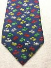CHEZ ROGER MENS TIE BLUE WITH GREEN RED YELLOW WHITE VW BEETLES 3.75 X 58