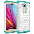 For Huawei Honor 5X Case, Spot Diamond Studded Crystal Dual Layer Hybrid Case