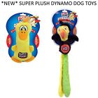 *NEW* SUPER PLUSH DYNAMOS PLAYFUL PLUSHY RUBBERY SQUEAKY DOG PUPPY TOY 2 STYLES