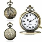 Vintage Steampunk Retro Bronze Design Pocket Watch Quartz Pendant Necklace Hot