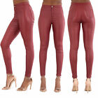 Womens Burgundy High Waist Leather Look Ladies Skinny Fit Trousers Size 6-14