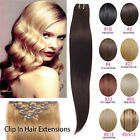 110g-170g Clip In Remy Human Hair Extensions Full Head Double Weft Thick UK