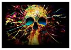 PSYCHEDELIC SKULL ABSTRACT SPLASH PAINT MODERN WALL ART CANVAS PICTURE PRINTS