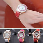Women Girl Quicksand Faux Leather Band Mxre Round Dial Analog Quartz Wrist Watch image