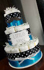 3 Tier Diaper Cake - Little Man Mustache Theme Black and Blue Baby Shower