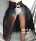 LONG CORSET STYLE BLACK NET LACE UP TOP TUTU SKIRT XS S M L XL XXL XXXL