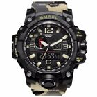 Men Military Sports Watch Analog Digital Dual Quartz Waterproof Camo Beige Green