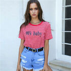 Girls Red Stripe 90s Baby Letters Shirt Short Sleeve Cute Words on Front Tops