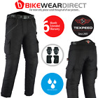 Texpeed Black Waterproof CE Armoured Motorcycle / Motorbike Trousers All Sizes