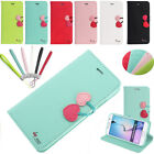 Cute Cherry Leather Magnetic Wallet Strap Cover Case For Samsung Galaxy S5 S6 S7