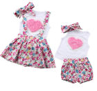 Baby Little Big Sister Girls Valentine Rose Tops Pants Valentine Matching Outfit