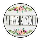 Thank You Stickers Country Rustic Floral Flower Gray Envelope Seals 1.2 In Round