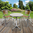 3pc Bistro Sets Aluminium Lightweight Chrome Outdoor Garden Patio Furniture Wood