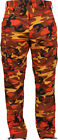 Mens Savage Orange Camouflage Cargo Army Camo Fatigues Military BDU Pants