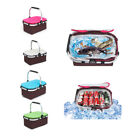 Basket Lunch Picnic Food Folding Insulated Cooler Camping Bag Box W/Lid & Tote