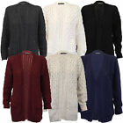 ladies cable knitted jumper womens cardigans boyfriend chunky open front winter