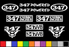 347 V8 POWERED 10 DECAL SET STROKER 302 ENGINE STICKERS EMBLEMS FENDER BADGES
