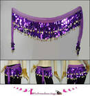 Shining Sequins Dance Scarf Belt w Gold Coins 11 colors
