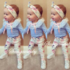 3pcs Infant Baby Girl Clothes Set Lace Top T Shirt Floral Pants Outfits Lovely