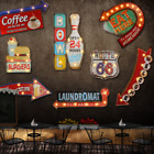 Metal LED Sign Retro Tin Vintage Plaques Bar Shop Cafe Club Wall Decor Battery