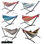 Outdoor Swing Chair Double Hammock with Steel Stand Camping Bed Multicolors New