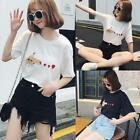 Summer Korean Womens/Gir Heart print casual T-shirt short sleeve Blouse Tee Tops