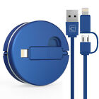 2in1 Retractable Cable for iPhone XS X 8 Lightning& Micro USB Cable Fast Charger