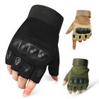 Tactical Hard Knuckle Half-finger Gloves Mens Army Military Combat CS Fingerless